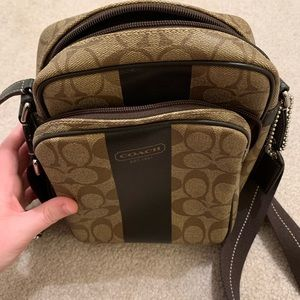 Brown Coach Crossbody with a Thick Strap